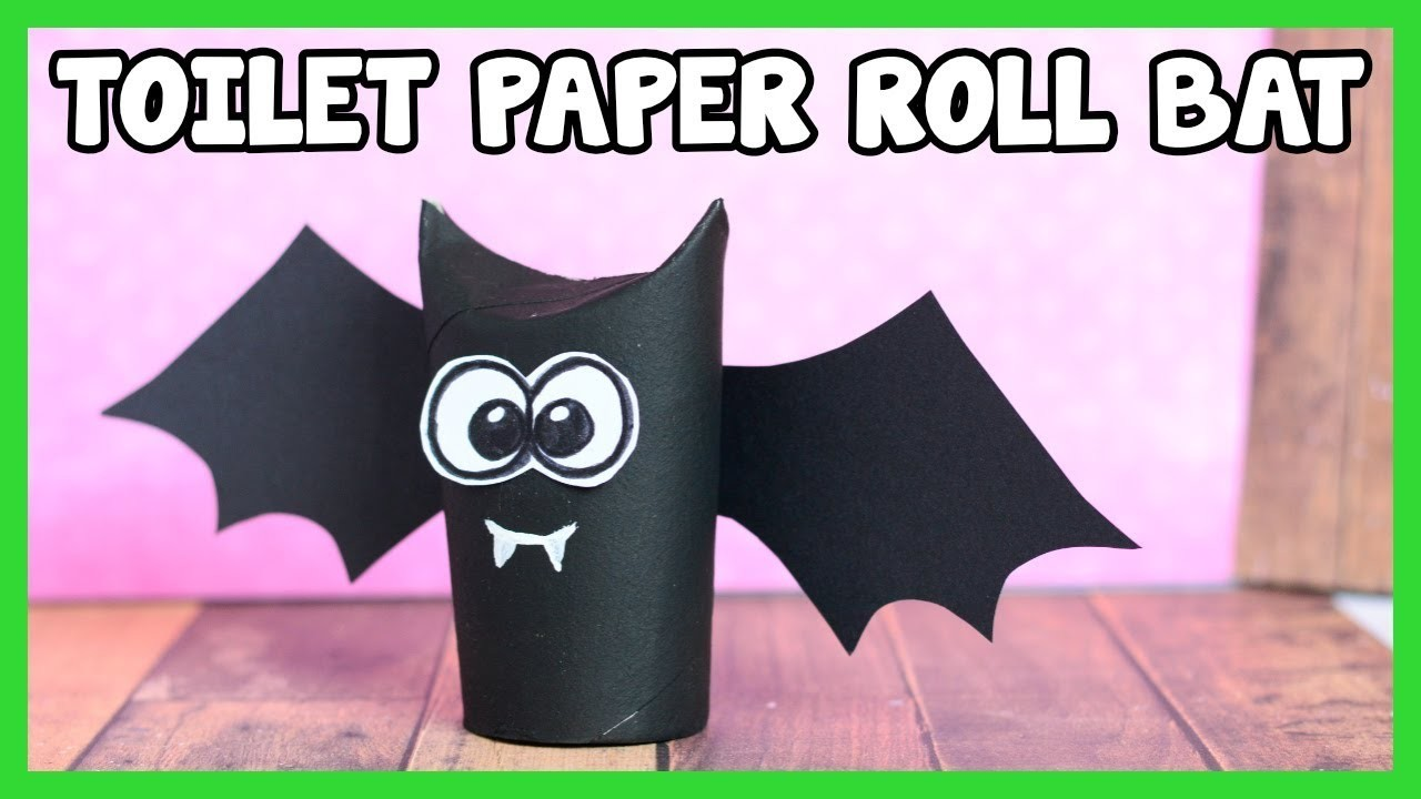 Toilet Paper Roll Bat Craft - simple Halloween craft for kids