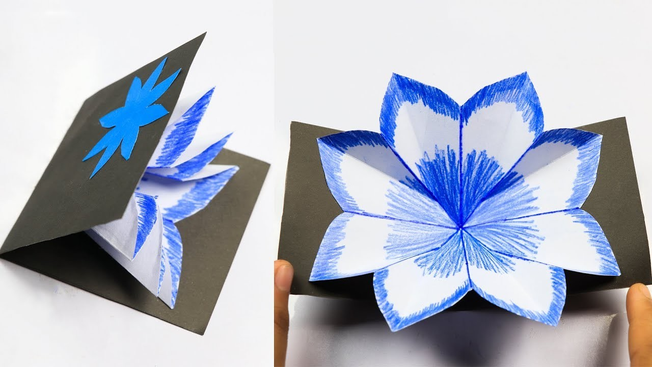 Making Diy Flower Pop Up Card How To Make A Pop Up Card Handmade
