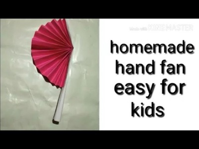 Hand fan. how to make a mini hand fan at home very simple - easy way. kagaz ka pankha