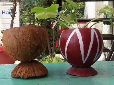How to cut a coconut shell. how to turn it into a beautiful planter. .