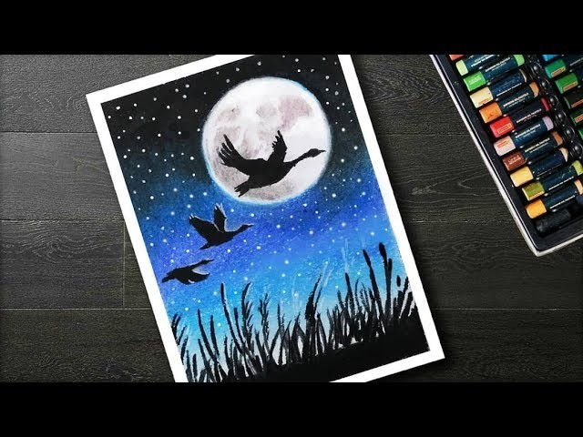 How To Draw Scenery Moonlight Bird With Oil Pastels Step By Step