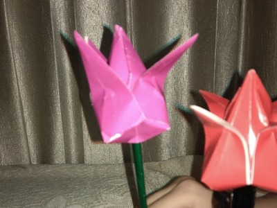 How to fold origami sheets to make tulips and dog
