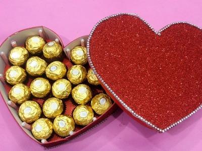 HOW TO MAKE GLITTER HEART SHAPE CHOCOLATE BOX _VALENTINE HEART BOX IDEA ????????????????????
