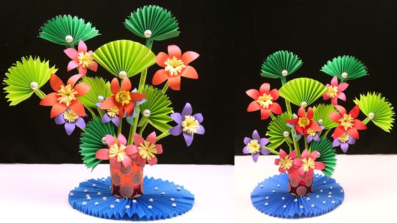 How To Make Paper Flowers Paper Flowers Diy Paper Flower Amp Plastic Bottle Flower Vase At Home