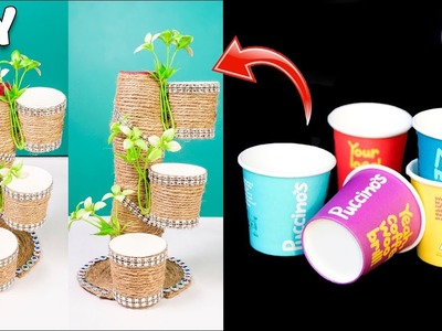 How to reuse Disposal coffee cup, jute & cd | Best out of waste | Home Decor | Artkala 505