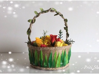 Beautiful Basket Out Of Waste Plastic Box. DIY. Decorative Jute Basket | Priti Sharma