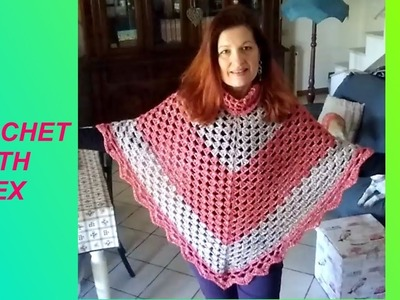 "CROCHET EASY GRANNY PONCHO ""MISS SIMPLICITY"" any size and yarn tutorial for beginners Alex Crochet"