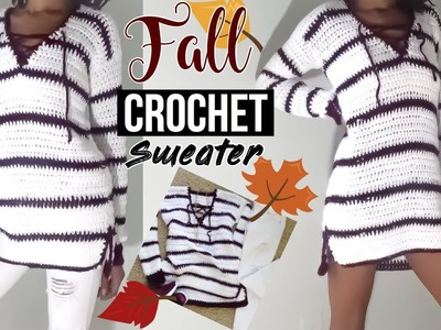 Crochet lace-up pullover sweater
