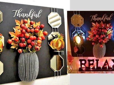 Diy 3D Vase and Fall Wall Decor using  Dollar Tree Items| Quick and Easy Fall Decor!