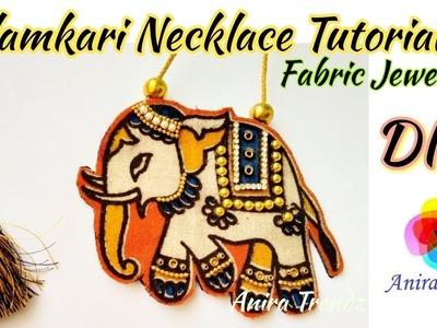 DIY Designer Kalamkari Necklace Tutorial Fabric Jewellery Making at home