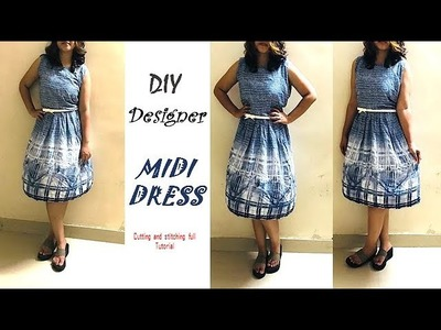 DIY Designer MIDI DRESS cutting and Stitching full tutorial by Pinz Creation