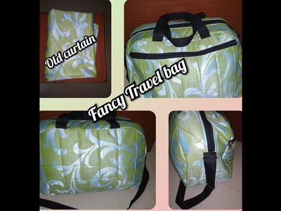 DIY Fancy Travel Bag from old curtain. best out of waste