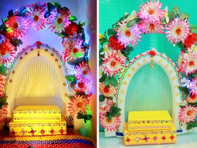 DIY | Ganesh Pandal Decorating ideas for Home | Table Decoration for Ganesh Chaturti in Rs.350