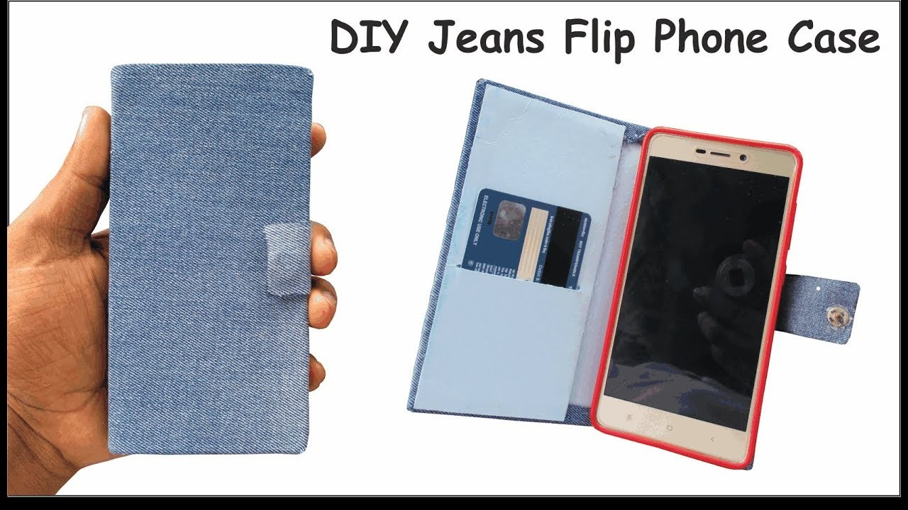 finest selection 91b53 3f3f1 DIY jeans flip phone case making tutorial - jeans phone case