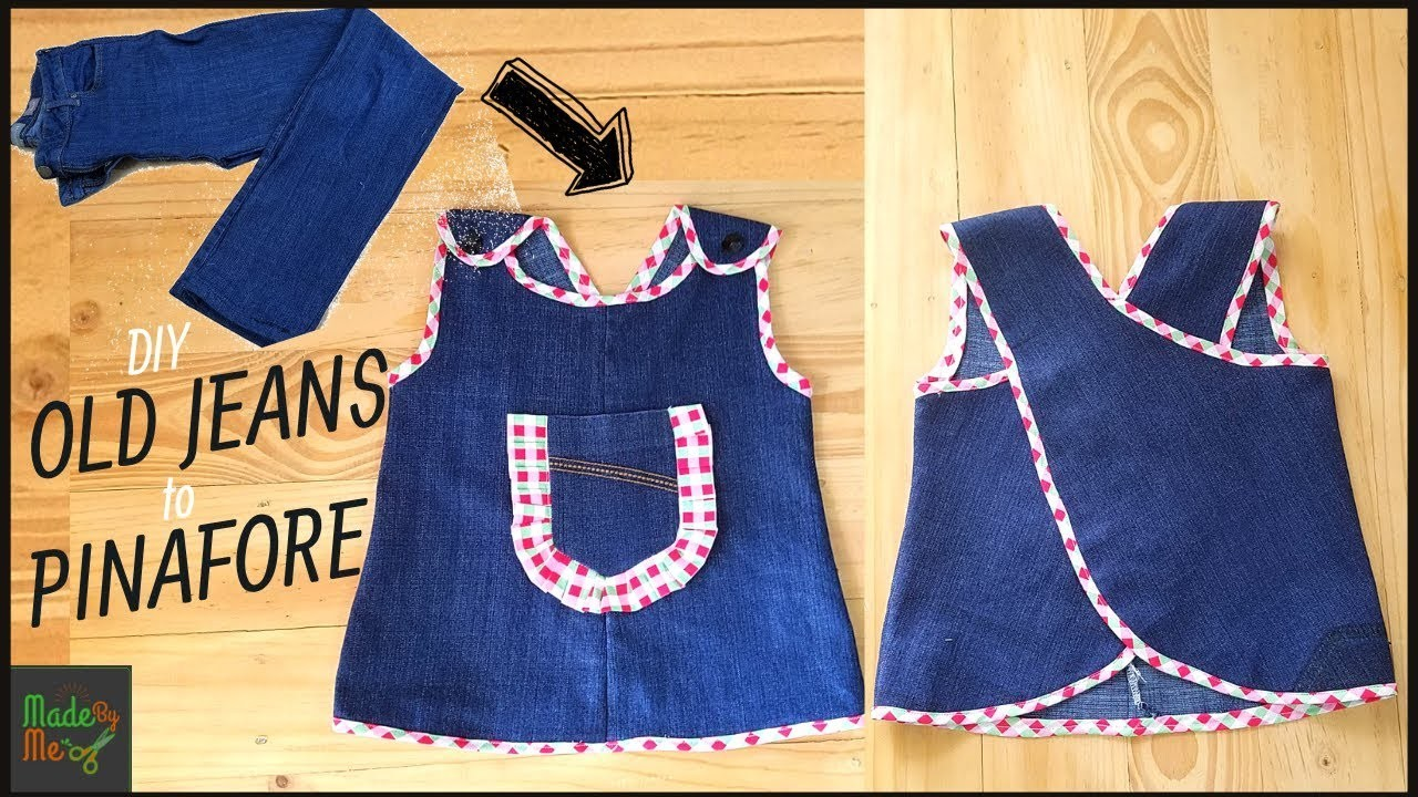 91807f5f3bd DIY Old Jeans into Pinafore Baby Frock (Best Use of Old Jeans)