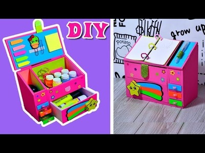 DIY.Organizer of cardboard for school and girls.Tutorial&crafts.Handmade.