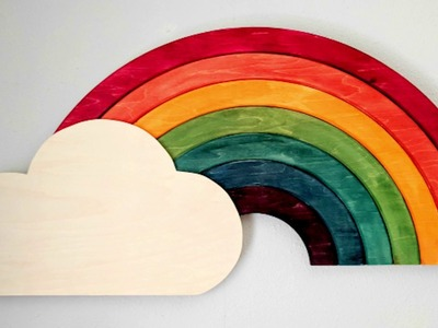 DIY Wooden Rainbow Wall Art (it lights up too!)