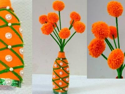 DIY-Woolen Guldasta New Ideas.Flower Pot.Waste Plastic bottle Guldassta.New craft.DIY Craft