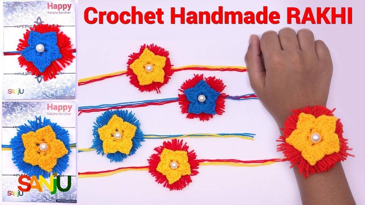 Easy and simple Crochet Rakhi in hindi   How to Make woolen rakhi at home
