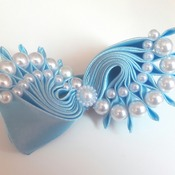 Handmade blue pearls hair ribbon bow for girl alligator clip hair accessories