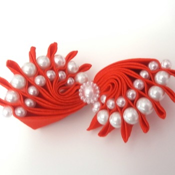 Handmade red pearls hair ribbon bow for girls alligator clip hair accessories