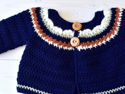How to crochet a children's cosy sweater. cardigan - The Autumn Sweater