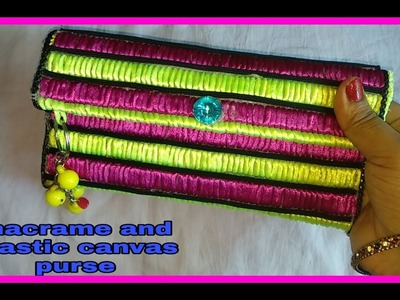 How to make hand purse, using macrame and plastic canvas  diy.