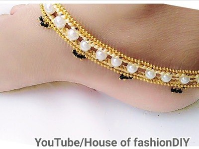 How To Make Silk Thread Anklet At Home. !