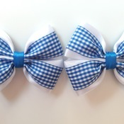 Pair handmade blue gingham shool bows for girls alligator clip hair accessories