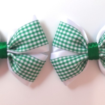 Pair handmade green gingham hair bows for girl shool bows hair accessories