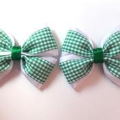 Pair handmade green gingham hair bows for girl shool bows hair accessories