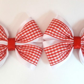Pair Handmade red gingham shool bows for girls alligator clip hair accessories