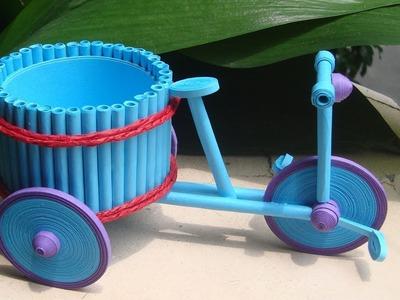 Quilling tricycle flower basket tutorial | DIY Paper tricycle flower basket