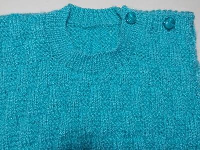 Single colour kids sewatar design - part - 3 (neck Knitting )