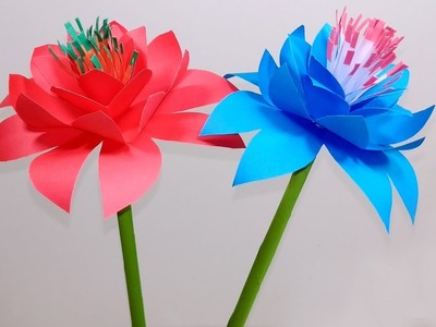 Stick Flower: Pretty Stick Paper Flowers Making Ideas for Home| DIY Flower |Jarine's Crafty Creation