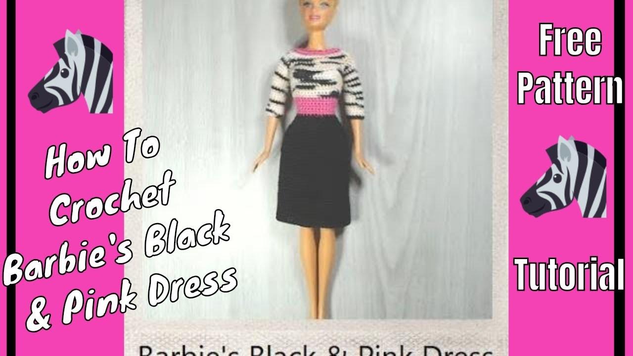 Crochet Barbie Black & Pink Dress ????