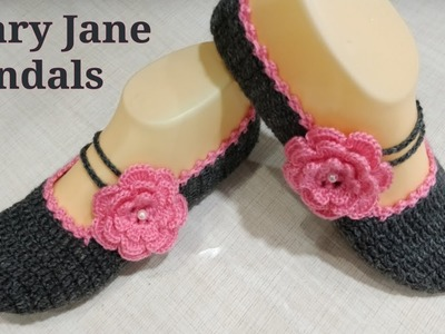 Crochet Mary Jane Slippers. Booties. Sandals How To Crochet Perfect Shaped Sandals