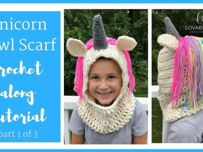 Crochet Unicorn Hooded Scarf Cowl Crochet Along Tutorial | Part 1 of 3