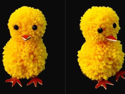 DIY Pom pom chicken. Pom pom Chick. Yarn Chicken.How to make Pom pom Chicken
