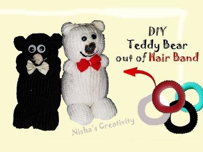 DIY Teddy Bear Out Of Hair Band. How to make Teddy Bear easily. cómo hacer un oso de peluche