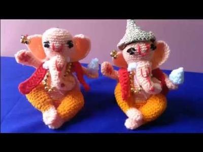 Ganesh Chaturthi Special How to crochet woolen Ganesh idol. in marathi. English subtitles. part 3