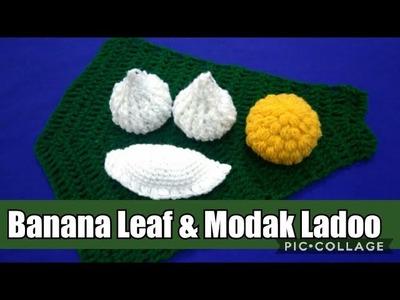 Ganesh chaturthi special How to crochet naivedya  banana leaf & modak. in marathi. English subtitle