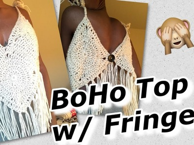 Granny Square Crochet BoHo Top w. Fringe Tutorial