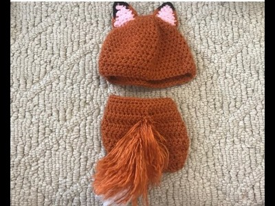 How To Crochet A Fox Hat And  Diaper Cover Set