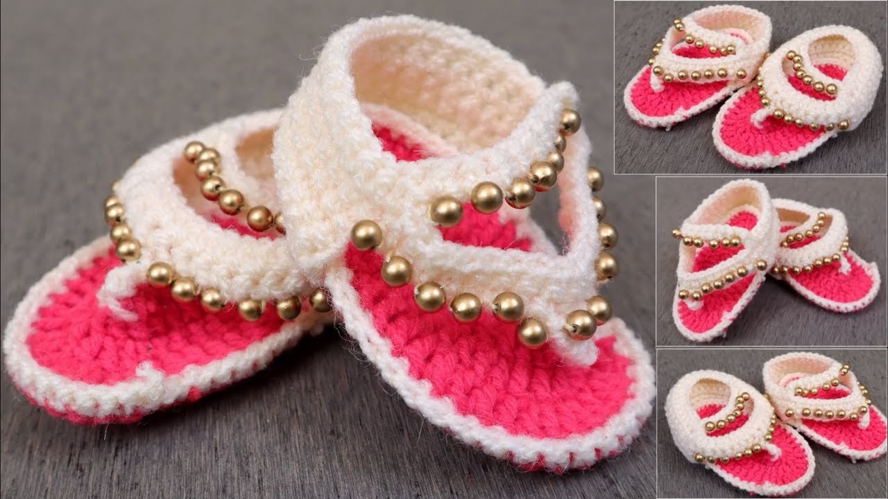 56f595e46759 How to Crochet Baby Sandals Design