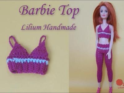 How to crochet barbie gym top tutorial (left hand)