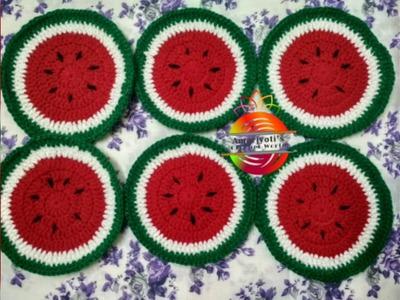 How to Crochet easy beginners friendly Watermelon Tea Coasters