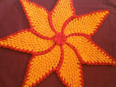 How to crochet flower shape tablemat.in marathi.English subtitles. रुमाल प्रकार 22