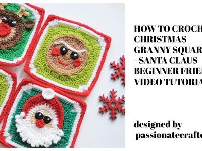 How to crochet granny square  Christmas Santa Claus granny square beginner friendly tutorial
