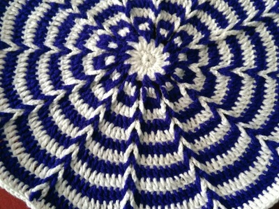 HOW TO Crochet ILLUSION EFFECT TABLEMAT. IN MARATHI. English SUBTITLES. रुमाल प्रकार - 20